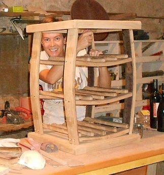Finishing a wine rack construction