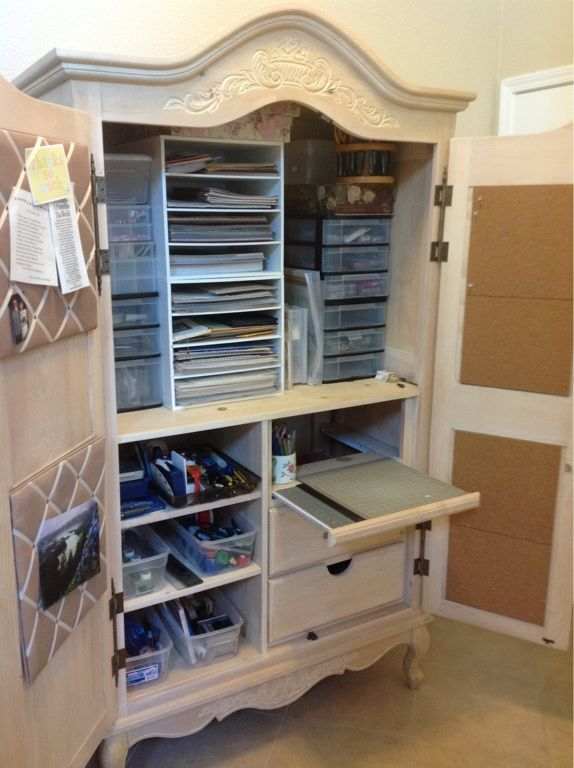20 best craft armoire images on pinterest apartment - Scrapbooking storage ideas for small spaces plan ...
