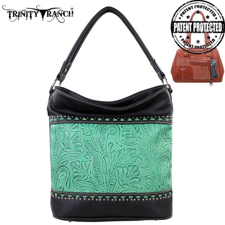 TR20G-916  Trinity Ranch Tooled Design Concealed Handgun Handbag - Tooling - Handbag