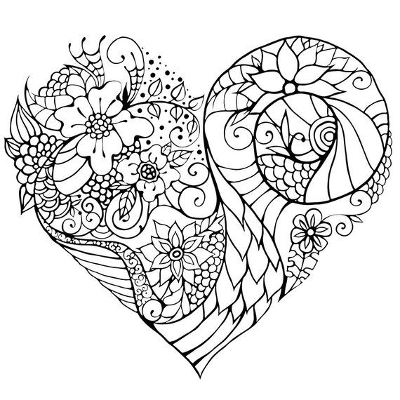 Floral Zentangle Inspired Heart Coloring Page Flowers Etsy Heart Coloring Pages Mandala Coloring Pages Coloring Pages