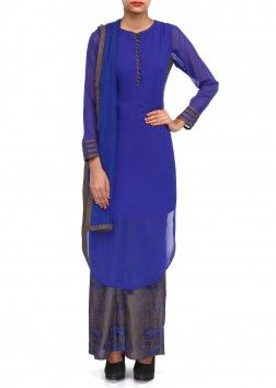 Royal blue palazzo suit adorn in resham embroidery only on Kalki