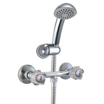 """Mezcladora de ducha sobreponer 6"""" linea mares colección cristal con ducha teléfono mares cromo"""