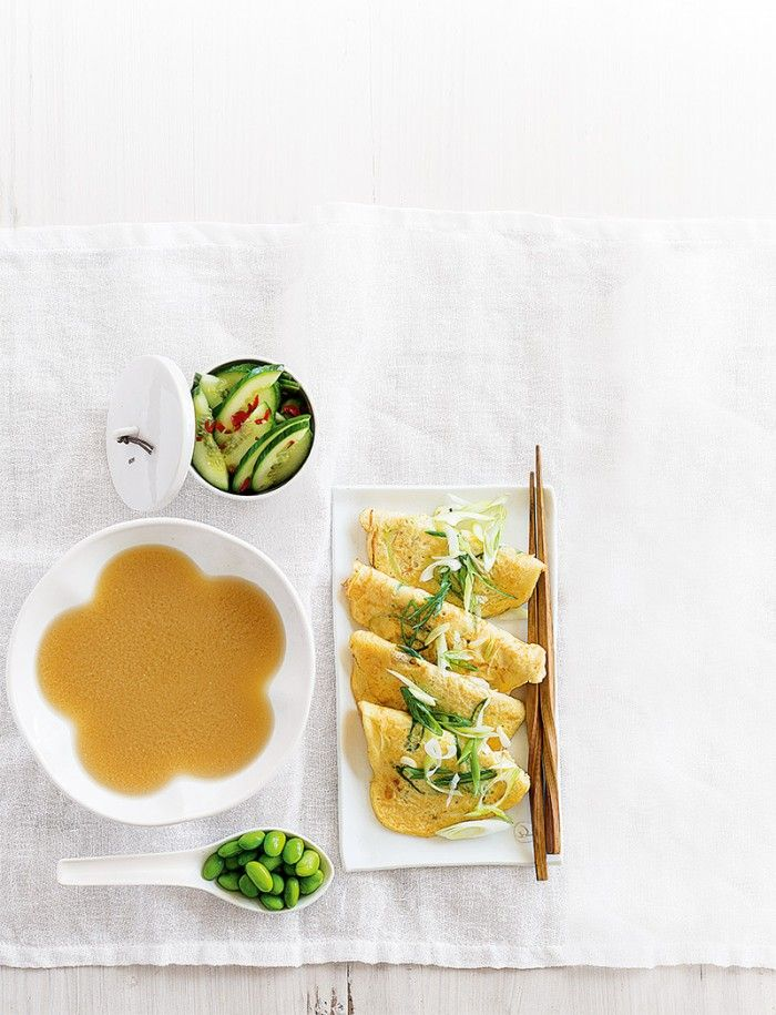 Japanese Pancakes with Miso Soup and Cucumber Salad | A-Z Recipes | MiNDFOOD