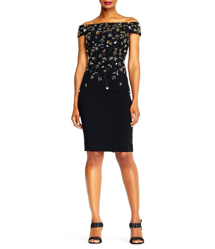 Adrianna Papell OffTheShoulder Beaded Floral Sheath Dress #Dillards