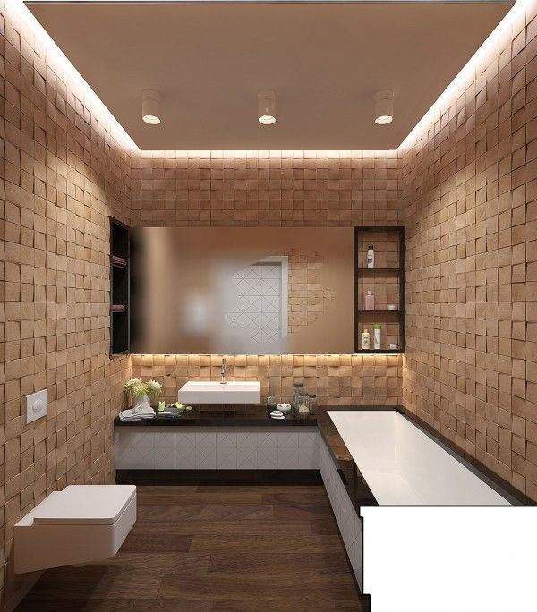A spacious bath uses creative textured walls to give it the feel of a modern saunda with all the necessary accoutrements.