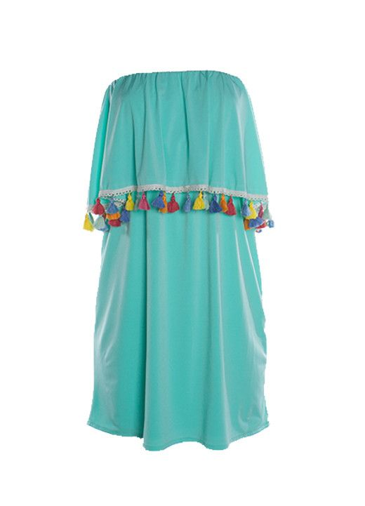 Judith March Turquoise Shimmy Dress with Multi Tassel