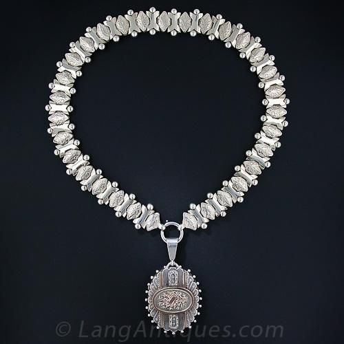 Victorian Silver and Rose Gold Collar and Locket - 90-1-5866 - Lang Antiques