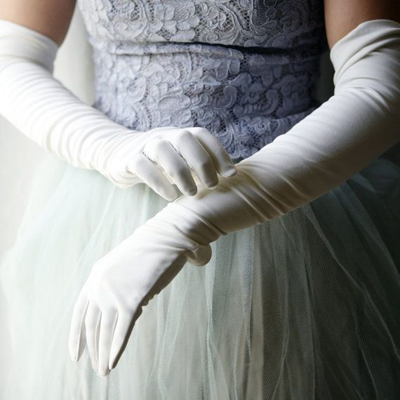 Vintage Lace Long Gloves | Long white gloves and a vintage blue lace dress with tulle ...