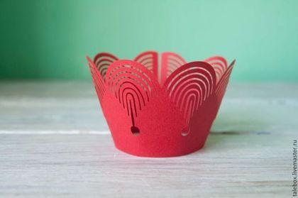 Праздничная атрибутика ручной работы. Ярмарка Мастеров - ручная работа. Купить Украшения для кексов-красный узор. Handmade. Красный