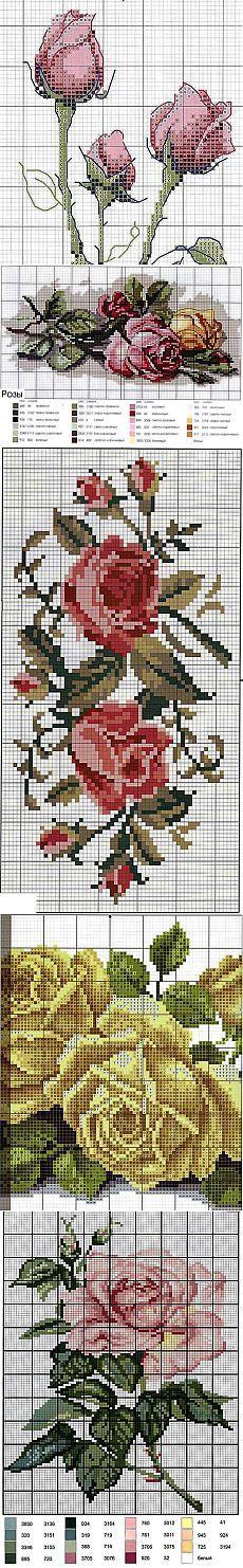 Розы ~ 14 схем для вышивки.