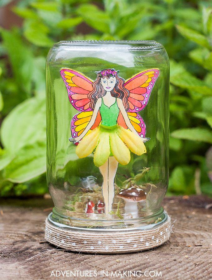 DIY: Fairy In A Jar (with a free printable fairy)