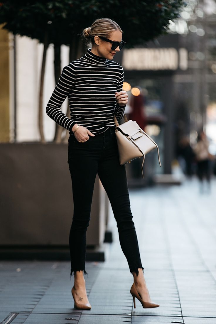 Fashion Jackson Nordstrom Black White Striped Turtleneck Sweater Black Skinny Jeans Nude Pumps Celine Mini Belt Bag