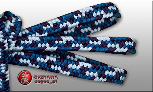 Schigeuchi 3-color sageo. Colors: teal blue - titanium silver - purple. Lenth 220cm for katana sword, also available in other diameters. Thick, great quality, very presentable. Hand made in Japan using traditional kumihimo technics.