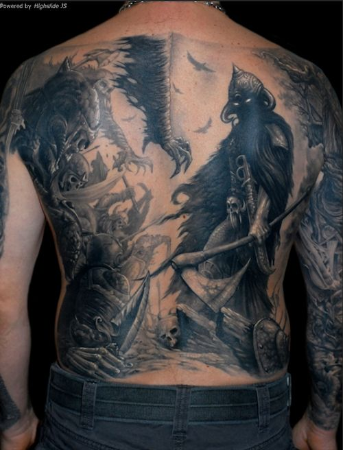 This epic battle scene made for one insane back piece. # ...