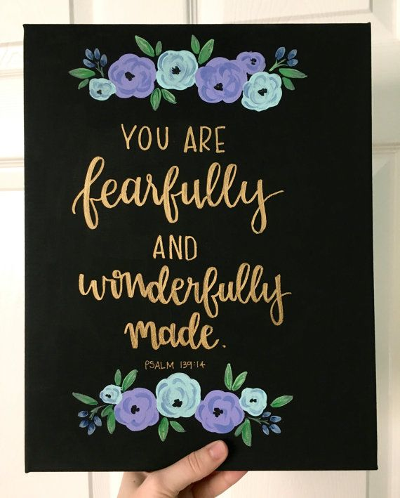 Canvas Quote 11x14  you are fearfully and by AmourDeArt on Etsy