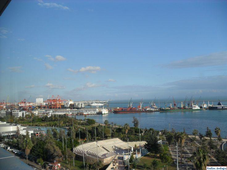 Mersin Limanı; Bu eser İnşaat Mühendisleri odasınca 50 büyük eser arasında sayılmıştır. (Mersin harbor)