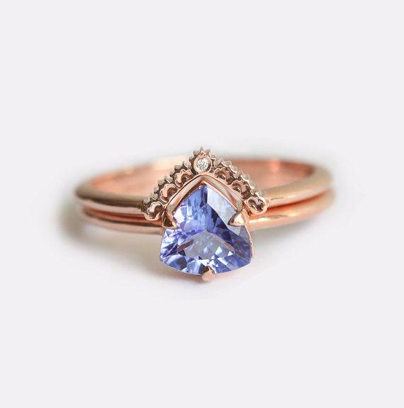 Bague de fiançailles en or rose, bague de fiançailles de Tanzanite, Tanzanite bague de mariage ensemble, Tanzanite bague avec diamant bande de dentelle, en or Rose ensemble