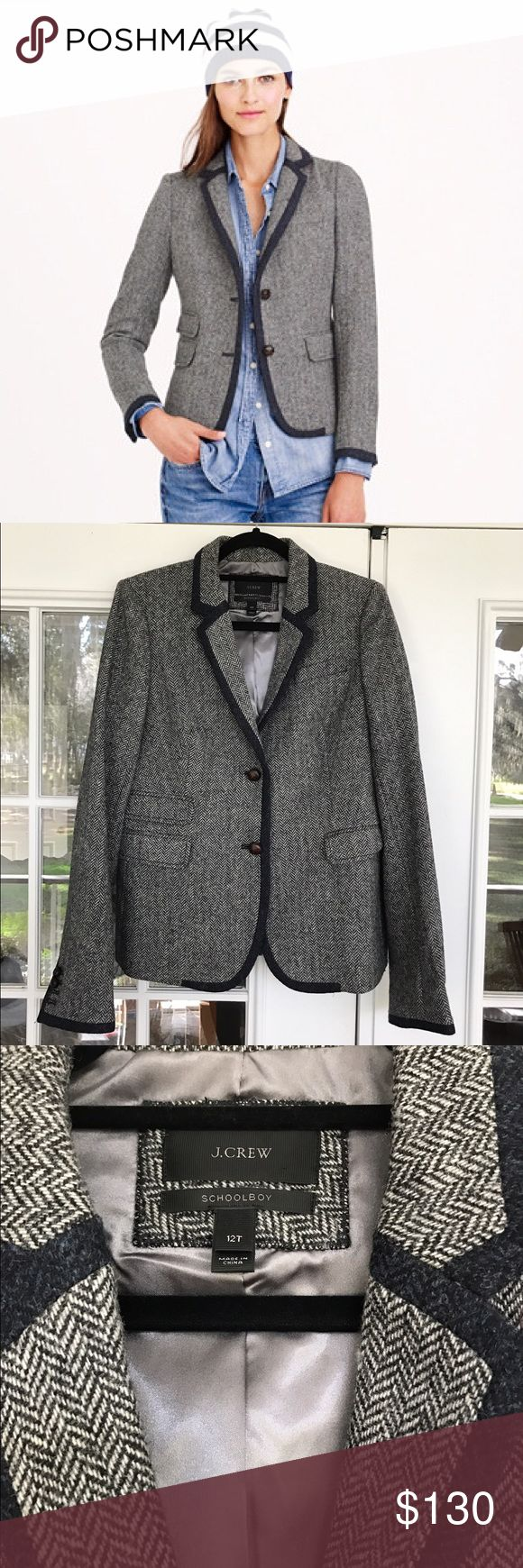 """Adorable J.crew school boy tipped blazer 12T Adorable J.crew school boy tipped blazer 12T * Tailored for a fitted look. Body length: 26 1/4"""". * Sleeve length: 33 1/2"""", hits at hip. Slim and slightly shrunken, jcrew'a  version of the classic boarding-school blazer w/ bespoke-inspired details like a ticket pocket & a notched lapel. * Wool, Notch collar with felt undercollar, Functional buttons at cuffs, Flap pockets, ticket pocket, Lined. * ItemB0806. - in EUC zero signs of wear (only worn…"""