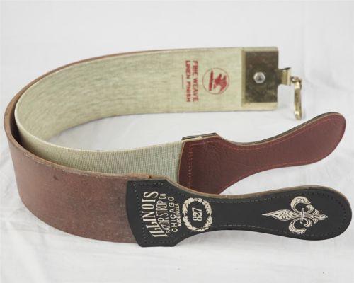 Straight Razor Strop Leather Barber Sharpening Illinois Co #827 Vintage