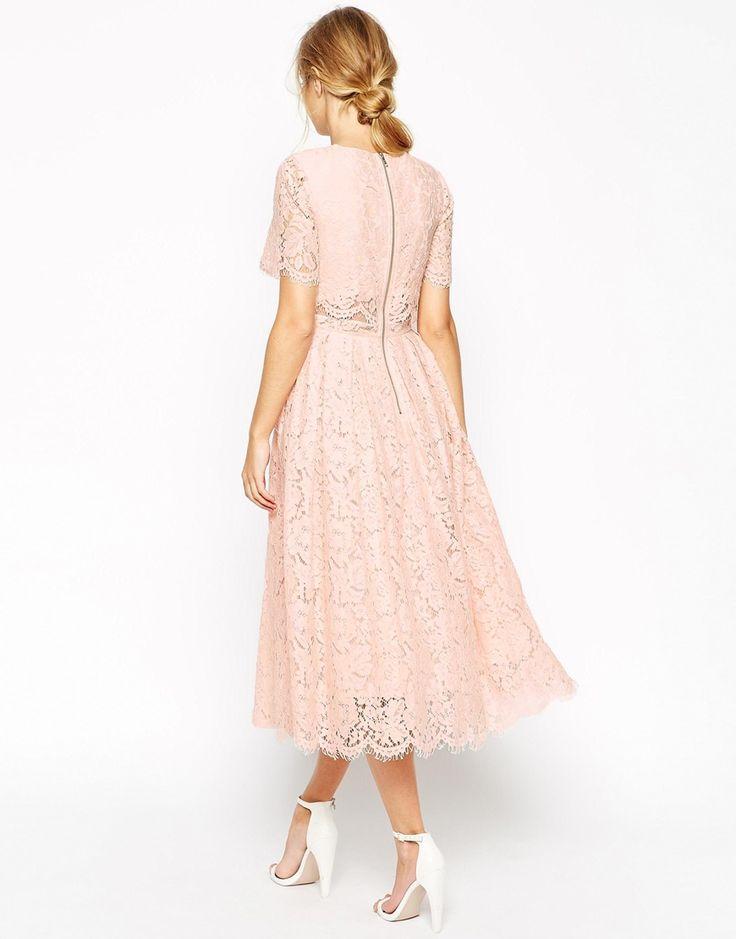Image 2 ofASOS PETITE SALON Lace Crop Top Midi Prom Dress