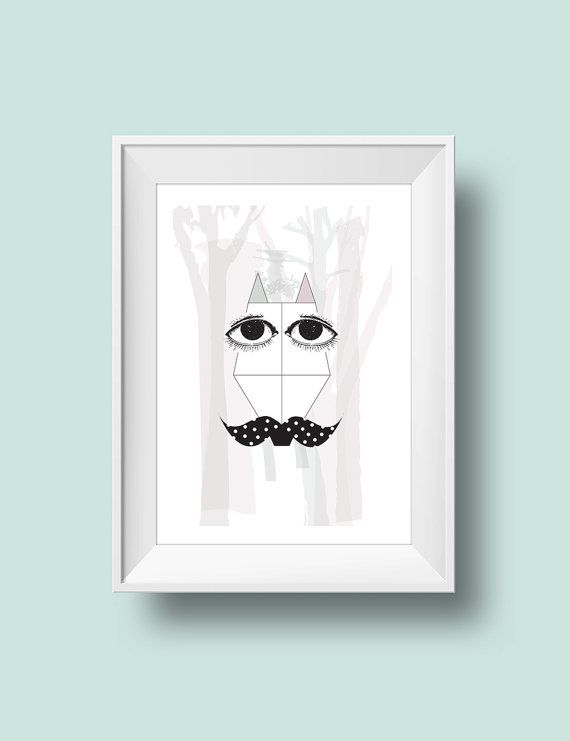 Fox with moustache in the woods  Art print  Poster  by RooftopCo