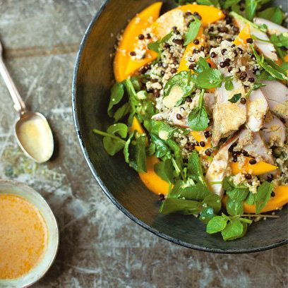 Quinoa, black lentil, mango and smoked chicken salad recipe | A Change of Apetite by Diana Henry | Recipes | Food | Red Online