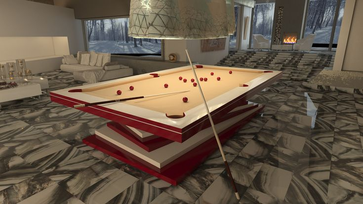 Dinner Billiard Table, Billiard Table, Pool Billiard, Tavolo Biliardo, Snooker, Billiard Room, Billiards -   Lacquered white and red