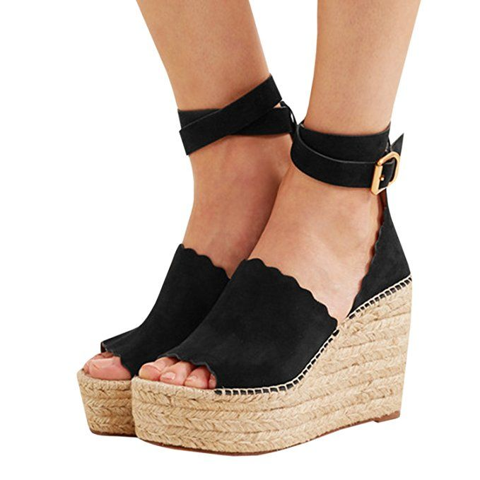 a0767a10b13 Enjoybuy Womens Platform Espadrille Wedges Peep Toe High Heel ...