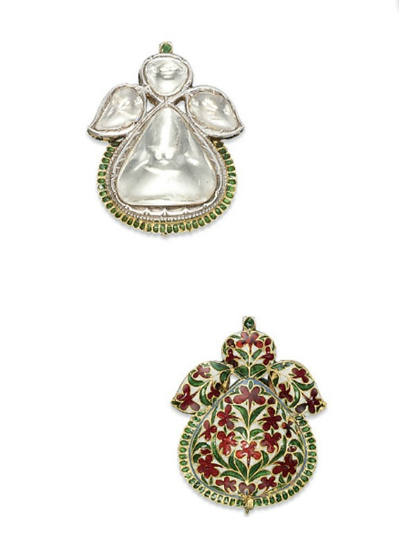 AN ANTIQUE INDIAN DIAMOND AND ENAMEL PENDANT   Set with a pear-shaped table-cut diamond, to the vari-cut diamond surmount, the reverse decorated with polychrome enamel flowers, mounted in silver and gold, Deccan, early 18th Century, 5.1 cm