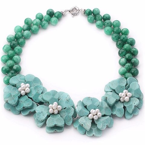 Find More Pendant Necklaces Information about Amazing Design Green Jade White Freshwater Pearl and Blue Turquoise Flower Party Necklace,High Quality party noise,China necklace flower Suppliers, Cheap necklace promotion from Lucky Fox Jewelry on Aliexpress.com