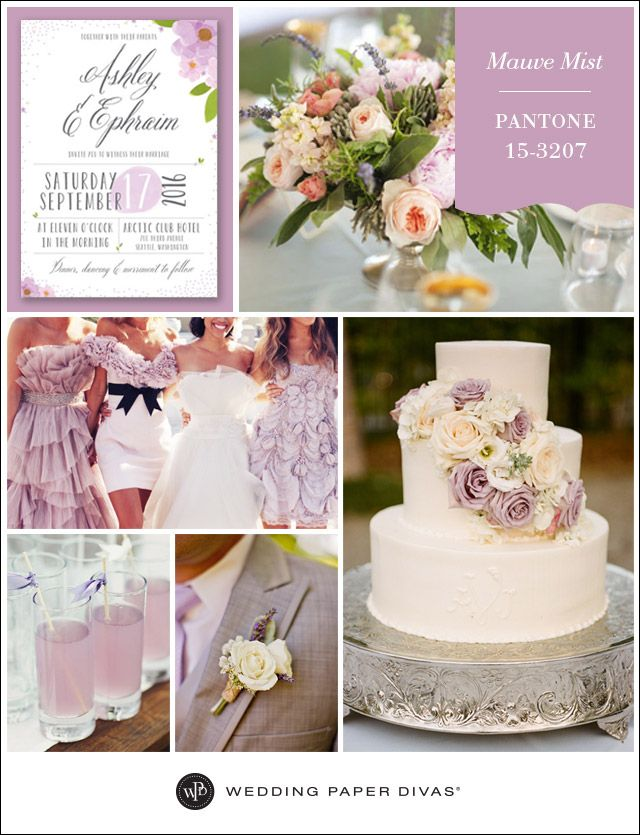 Pantone Mauve Mist Inspiration Board Wedding Color SchemesWedding ColoursMauve WeddingCatholic WeddingWedding Paper DivasWedding BlogWedding