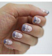 """Les """"squoval nails"""" fonctionnent bien avec des nail art géométriques - Cosmopolitan.fr"""