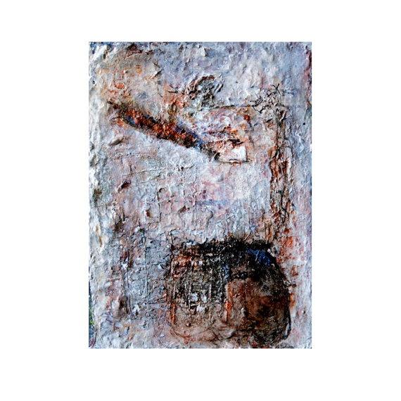 Texture painting soft grey sienna whites by HelenKilsbyStudio, $25.00