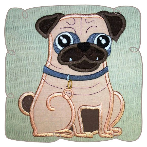 Perry Pug Dog Applique Machine Embroidery Design Pattern-INSTANT DOWNLOAD