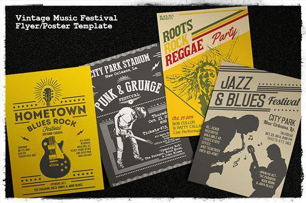 Vintage Music Festival Flyer/Poster Template on Behance