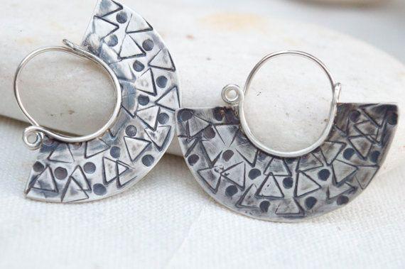 Tribal earrings Sterling silver earrings Boho by SILVERstro