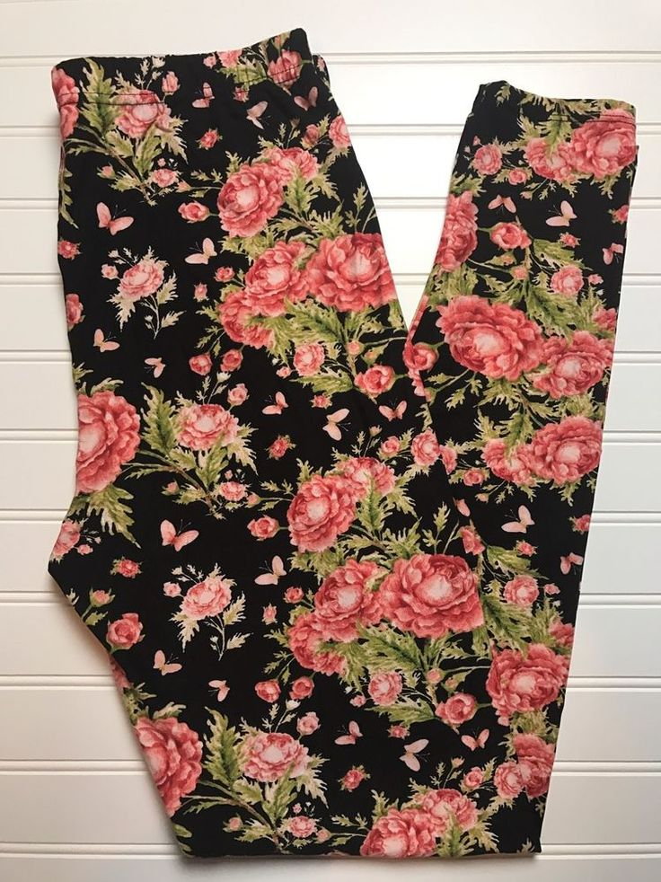 Buttery Soft Leggings Floral Peonies Black Background Plus Size TC Tall Curvy #Unbranded