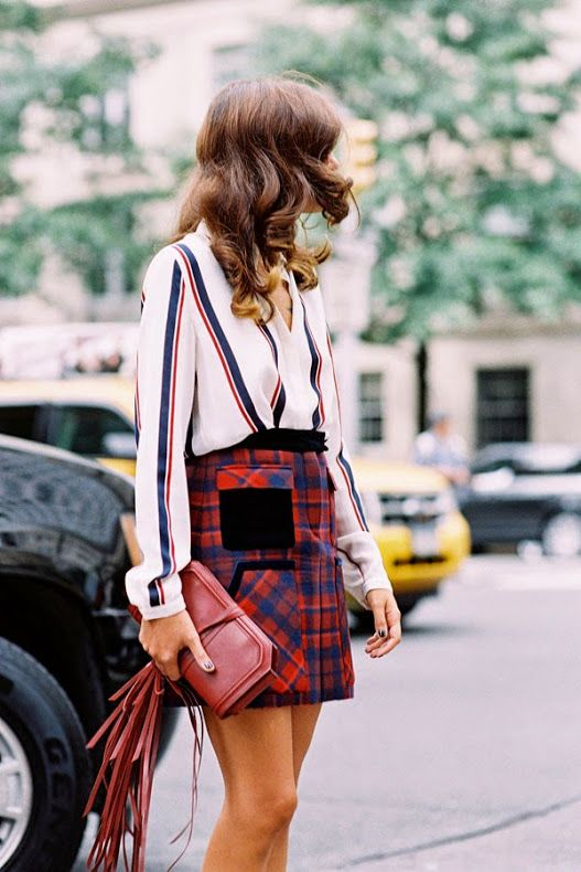 classic stripes and timeless plaid mixed into one great outfit
