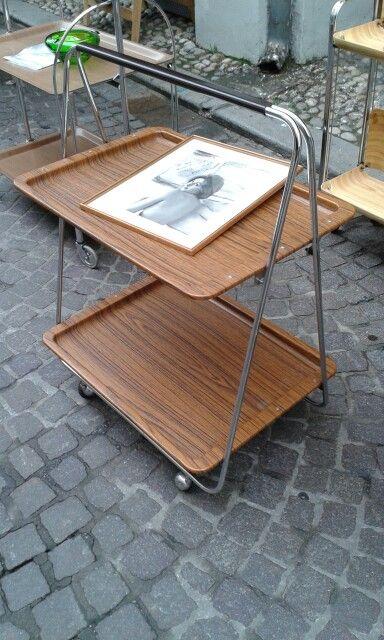 Carrello anni 50/60, Italy,  richiudibile, due vassoi