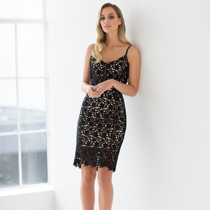 Beautifully crafted from a delicate floral lace, the Ava Dress features a V-neckline and scallop hem to just above the knee. The addition of the premium ladder trim and contrast lining highlights the feminine silhouette of this dress making it perfect for any occasion.