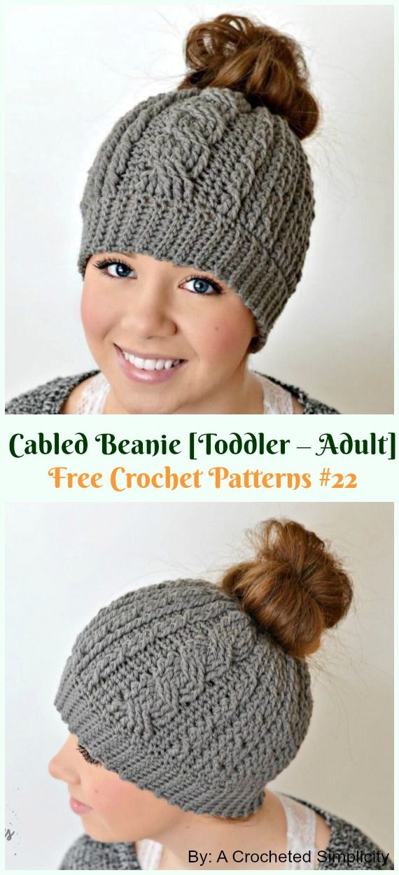 cb5a046f22f Toddler-Adult Cabled Beanie Hat Crochet Free Pattern - Adult  Cable   Hat   Free  Crochet  Patterns