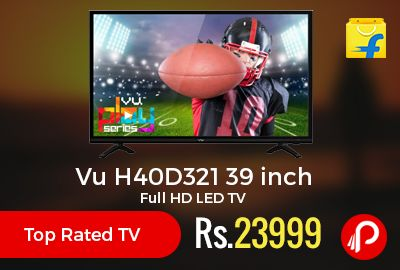 Flipkart is offering 9% off on Top Rated TV – Vu H40D321 39 inch Full HD LED TV at Rs.23999 Only. 178 degree Viewing Angle, 14 W Speaker Output, 60 Hz Refresh Rate, A+ Grade, Crackle-free Sound, Advance Micro Lens Optical Design, Wide Viewing Angle, 1 Year VU India Warranty.  http://www.paisebachaoindia.com/vu-h40d321-39-inch-full-hd-led-tv-rs-23999-only-flipkart/