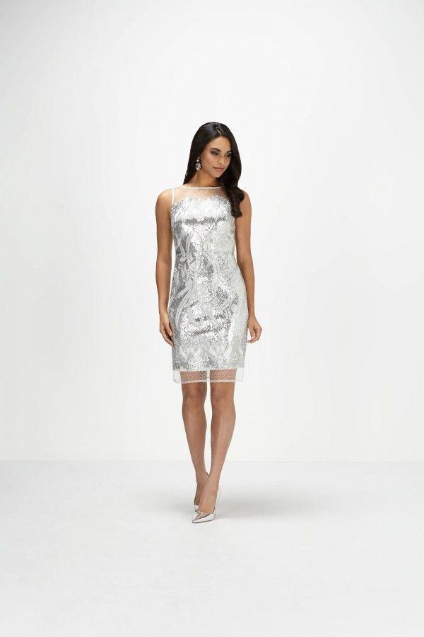 Sheer Panel Sequined Sheath Dress