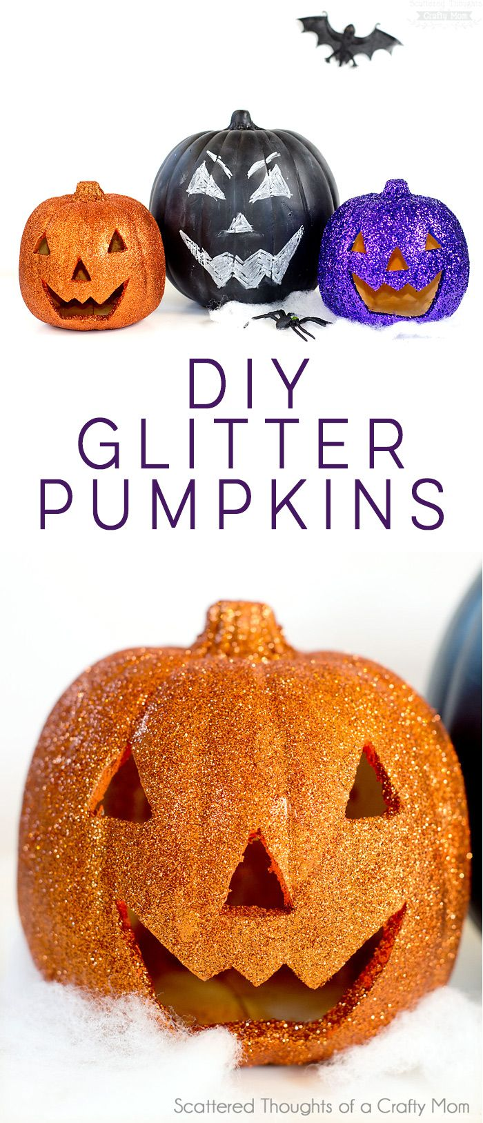 And fashion magic halloween pumpkins carving and decorating ideas - Diy Glitter Pumpkins Pumpkin Decorationshalloween Decorationshalloween Craftshalloween Ideasroom Decorationscarved