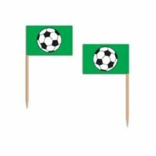 Black White Soccer Ball Flag Party Cupcake Cocktail Food Picks
