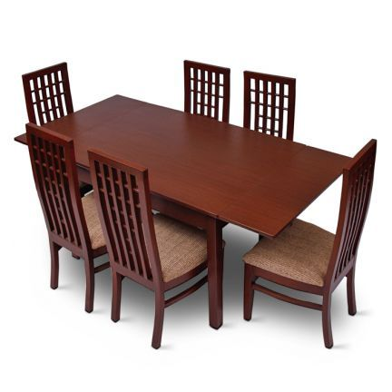 Swathi's Six Seater Extendable Dining Set Brown - Add oodles of style to your home with an exciting range of designer furniture,furnishings,decor items and kitchenware. We promise to deliver best quality products at best prices.