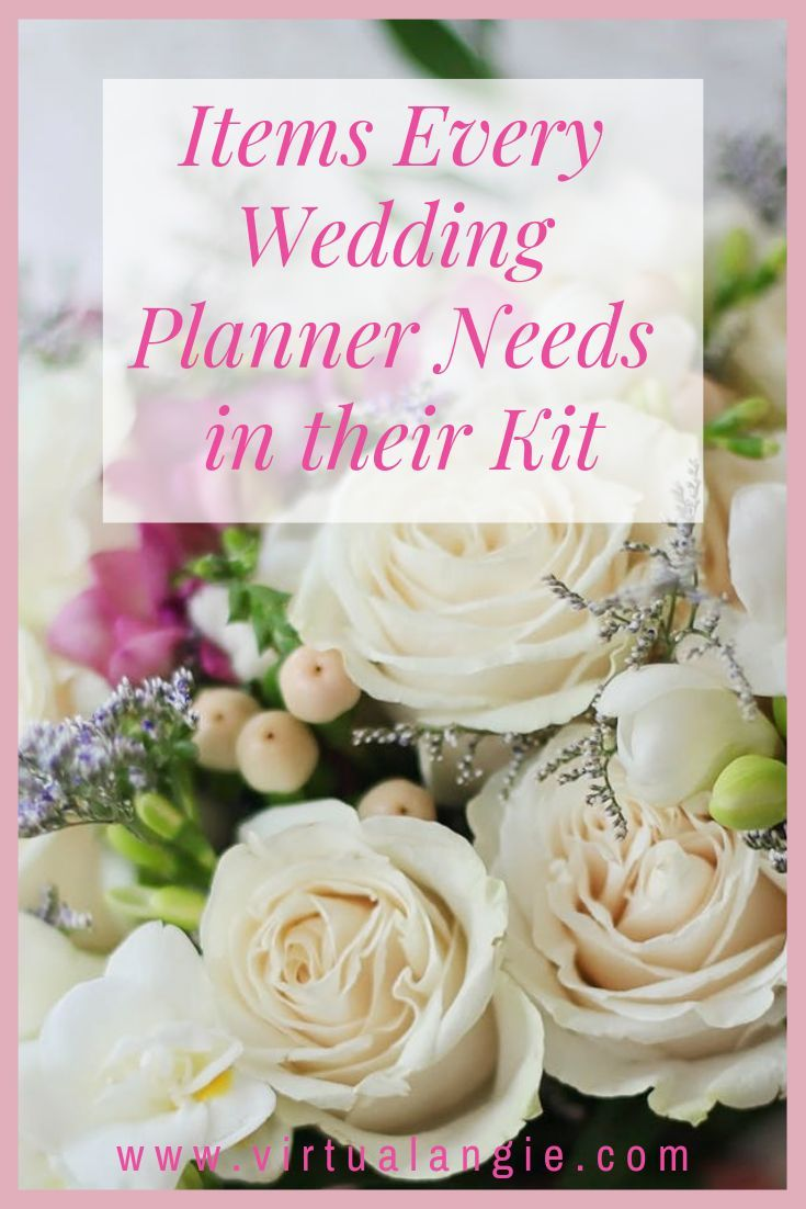 Items Every Wedding Planner Needs In Their Kit Virtual Angie Wedding Planner Business Wedding Planning Business Wedding Planner Kit