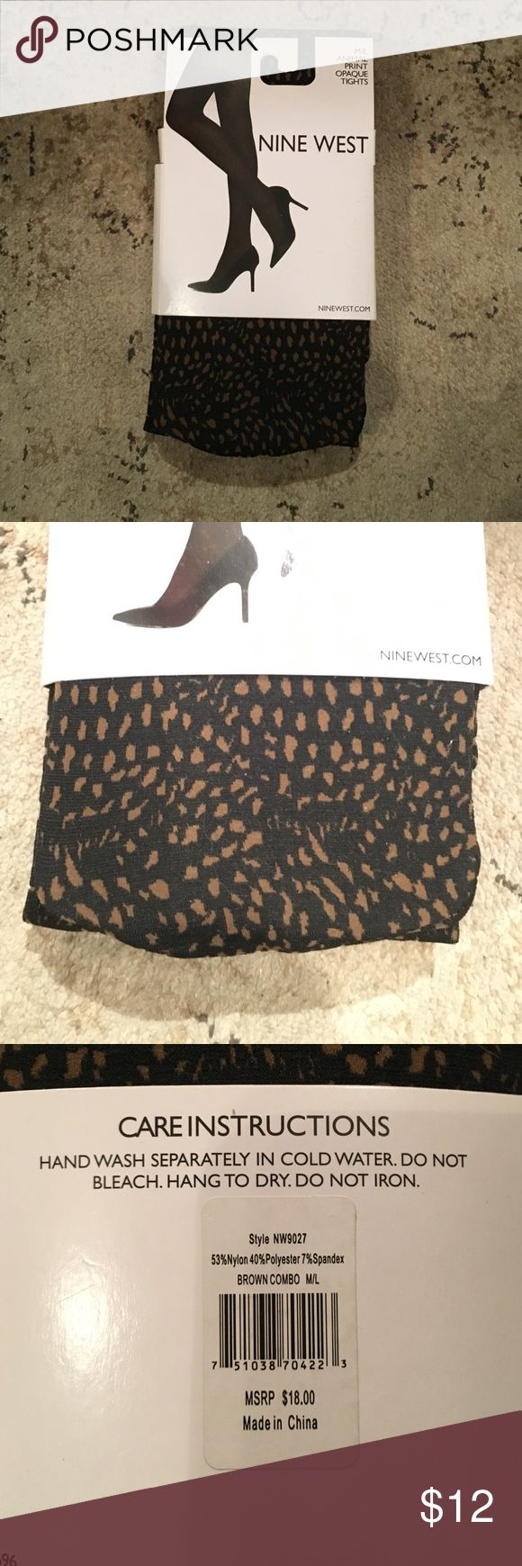 None West Opaque Tights Animals print brown and black opaque tights. Nine West Accessories Hosiery & Socks