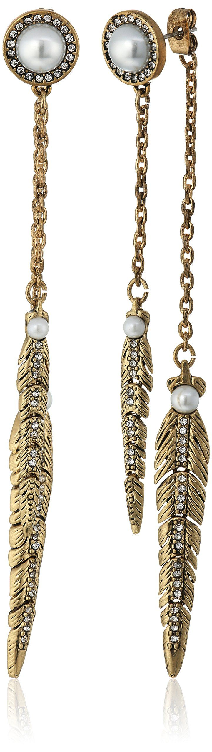 Rebecca Minkoff Antique Gold with Pearl Feather Front Back Drop Earring. Antique gold plated earrings with fauz pearl and feather shaped detail. Post with friction back. Remove jewelry when showering, swimming, or exercising. Avoid contact with perfumes and soaps. Store in protective pouch. Designed in New York, Made in China.