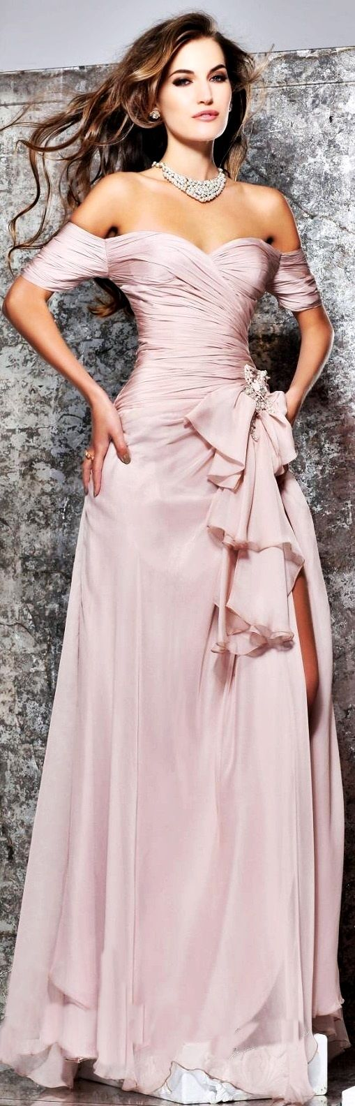 This light pink gown is so gorgeous!